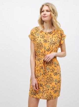 Oranžové kvetované šaty VERO MODA Simply