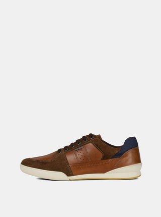 Pantofi sport barbatesti maro din piele cu detalii din piele intoarsa Geox Kristof
