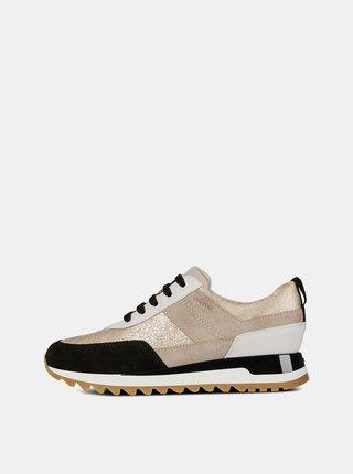 Pantofi sport negru-bej de dama cu detalii din piele intoarsa Geox Tabely