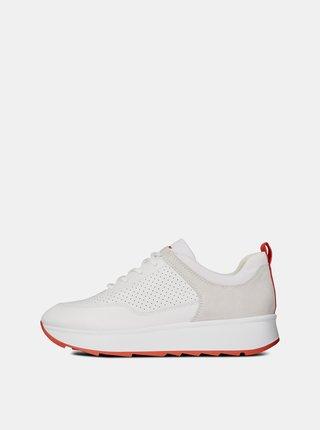 Pantofi sport crem de dama cu detalii din piele intoarsa Geox Gendry