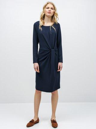 Tmavě modré šaty s řasením na boku VILA Sealo