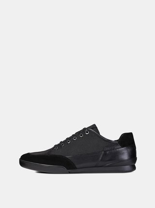 Pantofi sport barbatesti negri cu detalii din piele Geox Kristof
