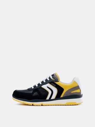Pantofi sport barbatesti galben-albastru impermeabili cu detalii din piele intoarsa Geox Sandford