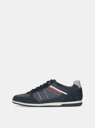 Pantofi sport barbatesti albastru inchis cu detalii din piele intoarsa Geox Renan