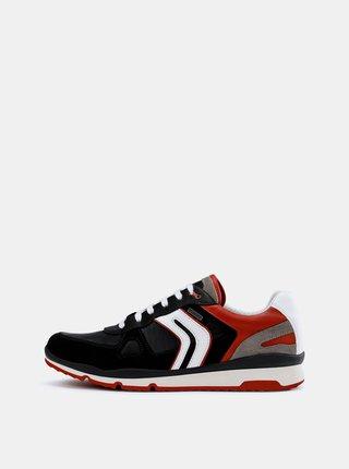 Pantofi sport barbatesti rosu-negru impermeabili cu detalii din piele intoarsa Geox Sandford