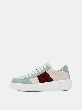 Pantofi sport verde-bej de dama cu platforma Geox Ottaya