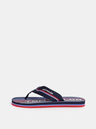 Papuci flip-flop barbatesti albastru inchis cu model Tom Tailor