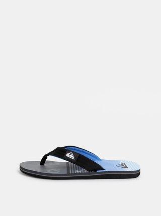 Modro–čierne pánske vzorované žabky Quiksilver Molokai