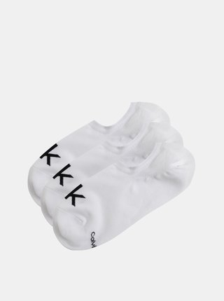 Sada tří párů bílých pánských kotníkových ponožek Calvin Klein Jeans