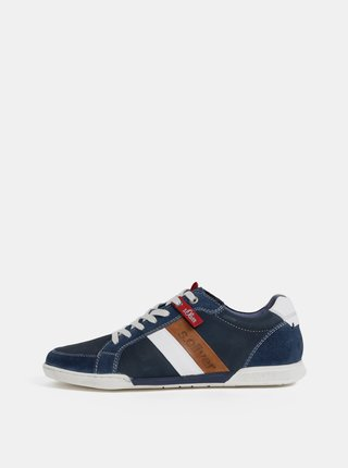 Pantofi sport barbatesti albastru inchis din piele cu detalii din piele intoarsa s.Oliver