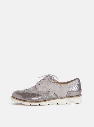 Pantofi gri de dama cu decoratie brogue s.Oliver