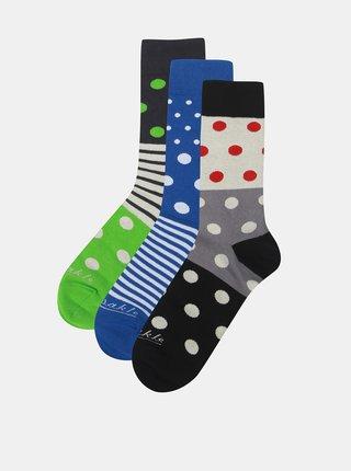 Sada tří párů ponožek v béžové a zelené barvě a v dárkové krabičce Fusakle Guľkopásik