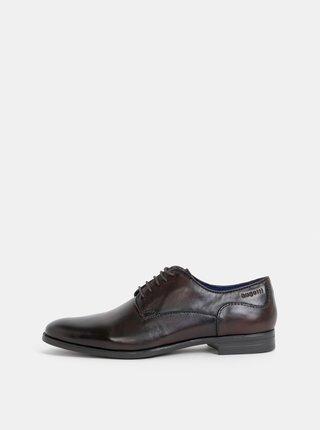 Pantofi barbatesti maro inchis din piele bugatti
