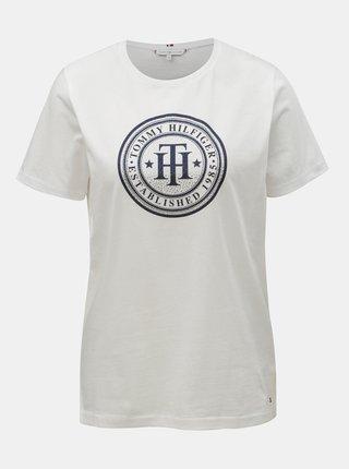 Bílé dámské tričko s potiskem a ozdobnými kamínky Tommy Hilfiger Vera