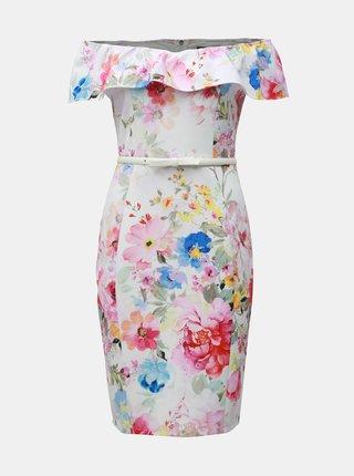 fbb812eb9286 Biele kvetované puzdrové šaty s odhalenými ramenami Dorothy Perkins