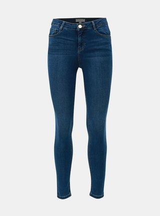 Modré skinny džíny s vysokým pasem Dorothy Perkins