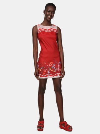 Červené květované lněné šaty Desigual Patrice