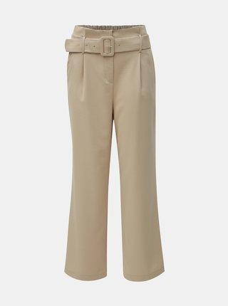 Béžové široké nohavice s opaskom a vysokým pásom TALLY WEiJL