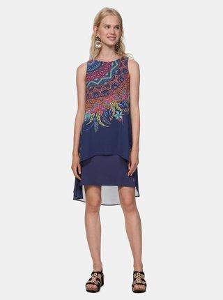 Rochie albastru inchis cu model Desigual Adri