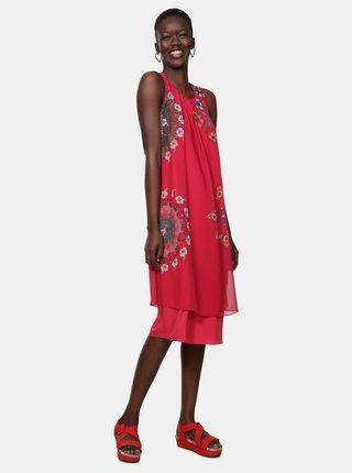 Tmavoružové kvetované šaty Desigual Sacha