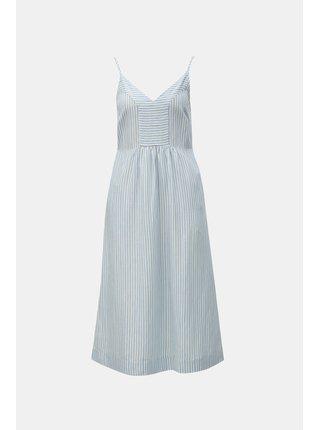 Rochie albastru-alb in dungi cu amestec de in Tom Joule Zoey