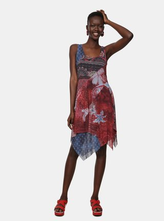 Modro-červené vzorované šaty Desigual Pequot