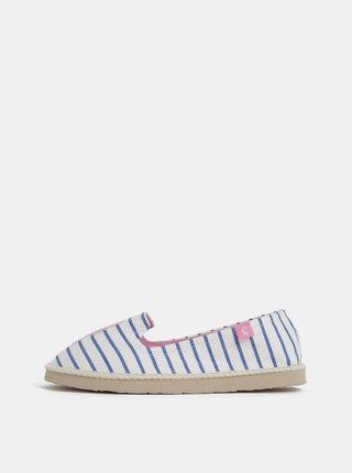 Pantofi slip on albi in dungi de dama cu broderie Tom Joule