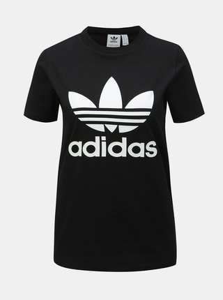 Černé dámské tričko s potiskem adidas Originals Trefoil