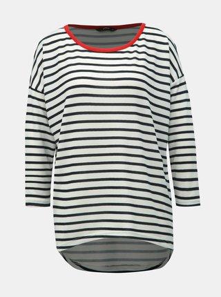 Černo-bílé pruhované volné tričko s 3/4 rukávem ONLY Elcos