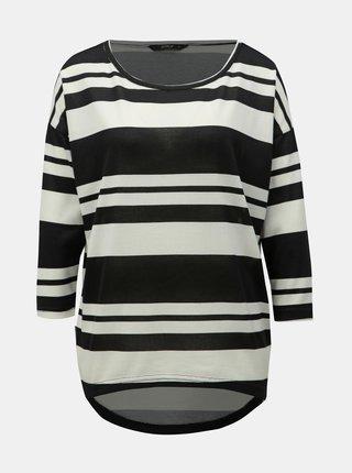 Bílo-černé pruhované volné tričko s 3/4 rukávem ONLY Elcos