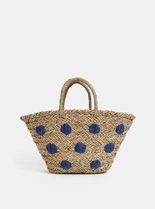 Béžová bodkovaná plážová slamená taška Tom Joule