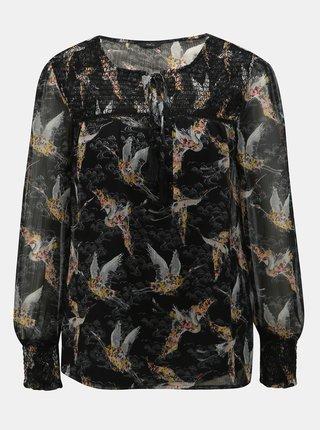 Bluza neagra transparenta cu model si maiou 2 in 1 M&Co