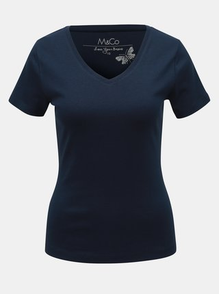 Tmavě modré basic tričko M&Co