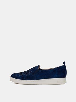 Pantofi slip on albastru inchis de dama din piele intoarsa cu broderie Geox Jaysen