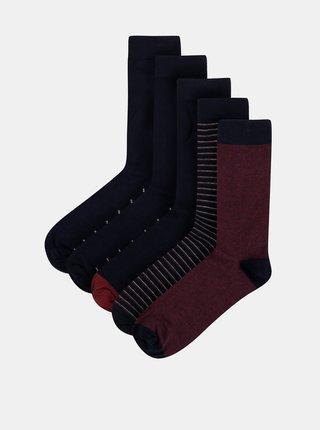 Sada pěti párů pánských ponožek v tmavě modré barvě M&Co