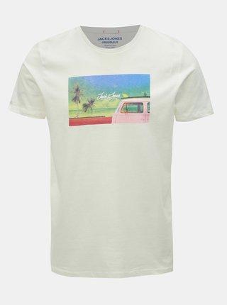 Bílé tričko s potiskem Jack & Jones Hotel