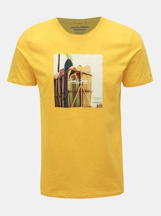 Žluté tričko s potiskem Jack & Jones Hotel
