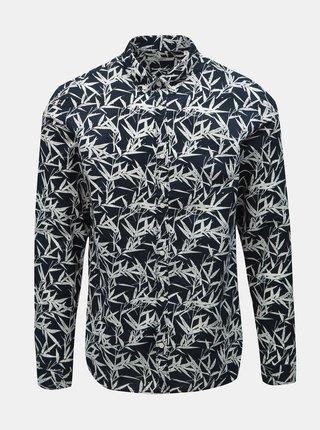 Tmavě modrá vzorovaná slim fit košile s příměsí lnu Jack & Jones Summer Print