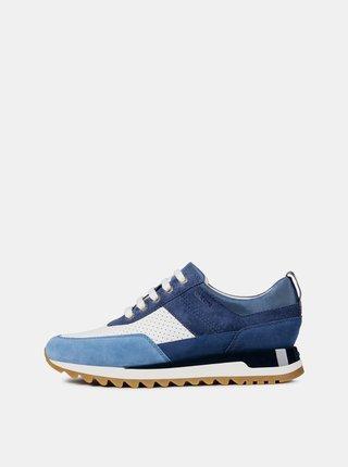 Pantofi sport alb-albastru de dama din piele intoarsa Geox Tabely