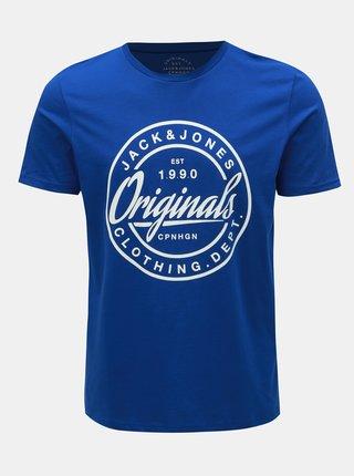 Tricou albastru slim fit cu imprimeu Jack & Jones Rart Tender