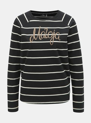 Černé dámské pruhované tričko s příměsí lnu Maloja Gurlaina