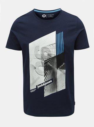 Tmavě modré slim fit tričko s potiskem Jack & Jones Will