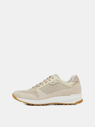 Pantofi sport bej de dama din piele intoarsa cu detalii metalice Geox Airell