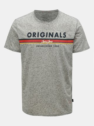 Tricou gri deschis melanj regular fit cu amestec de in Jack & Jones Tuco