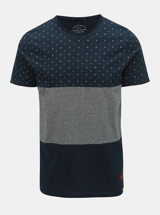 Tricou albastru inchis slim fit cu model Jack & Jones Tobi