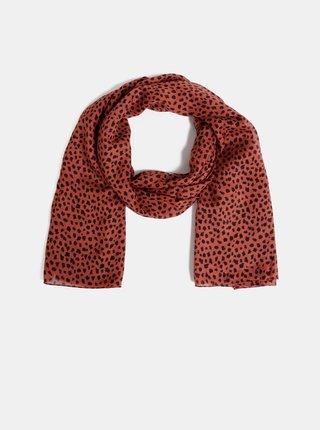Esarfa rosie cu motiv leopard Pieces Curie
