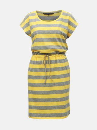 Šedo-žluté pruhované šaty s kapsami VERO MODA April