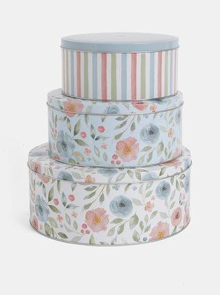 Set de 3 cutie crem si albastru florala Cooksmart