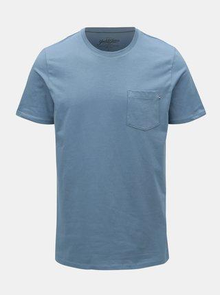Tricou albastru slim fit Jack & Jones