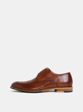 Pantofi barbatesti maro din piele cu detalii brogue Dice Aytonn